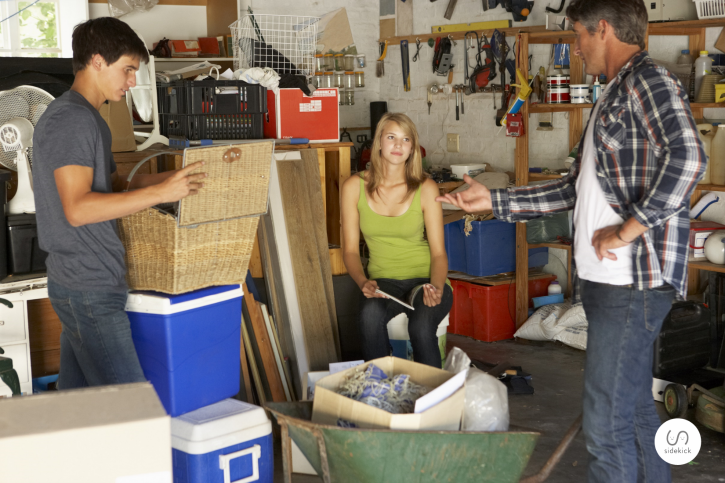 clean before organizing your garage