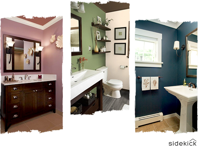bathroom interior design colors in 2018 are plum, forest green, and navy blue
