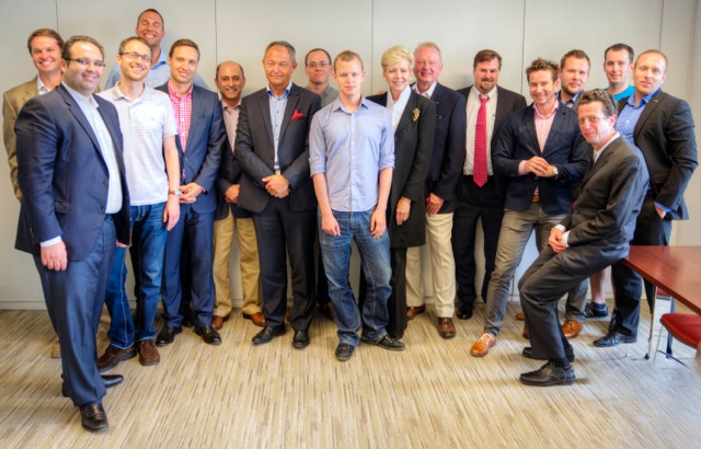 Chairman of Microsoft Europe, Jan Muehlfeit (red pocket square) visits with Czech and Slovak startups, and some prominent CzechTech leaders, innovators and inventors.