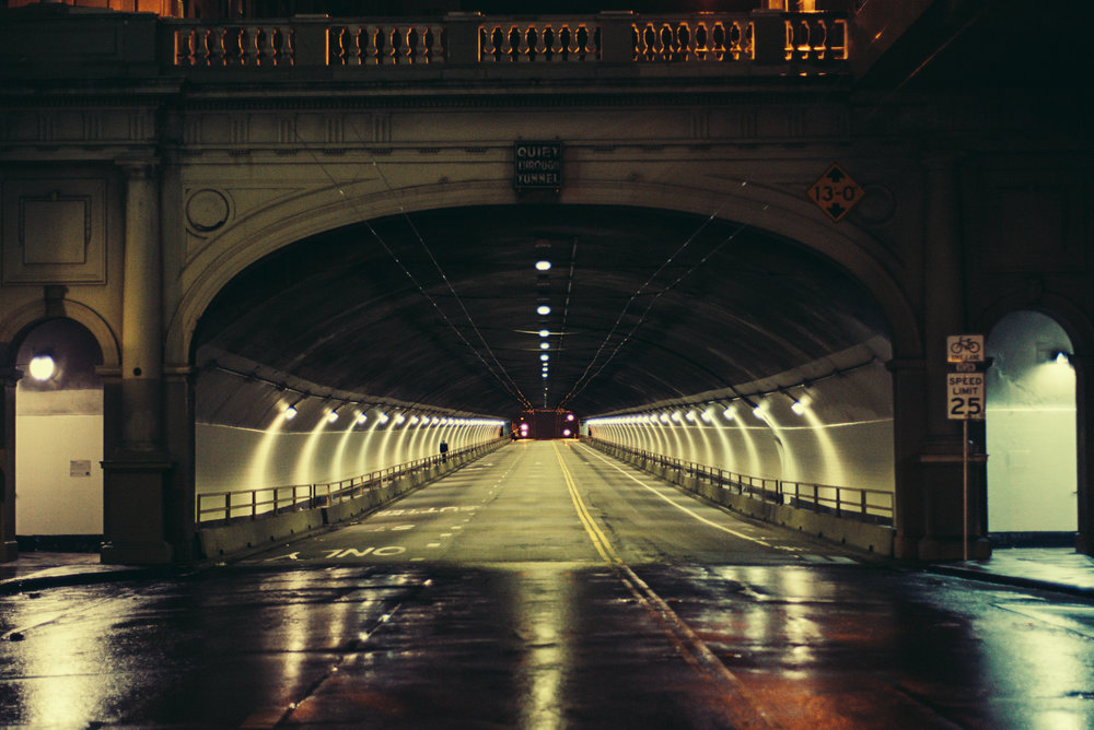 Late Night Tunnel Dweller. San Francisco, California.