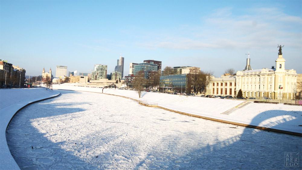 Frozen Neris river