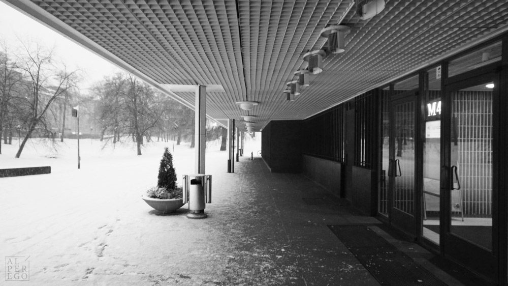 The long canopy of the Finland Hall.