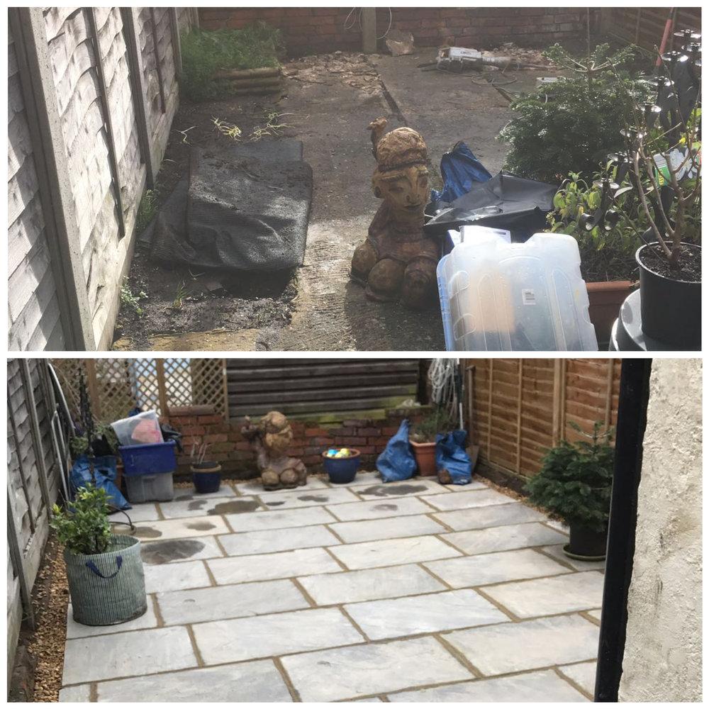 Grey sandstone patio