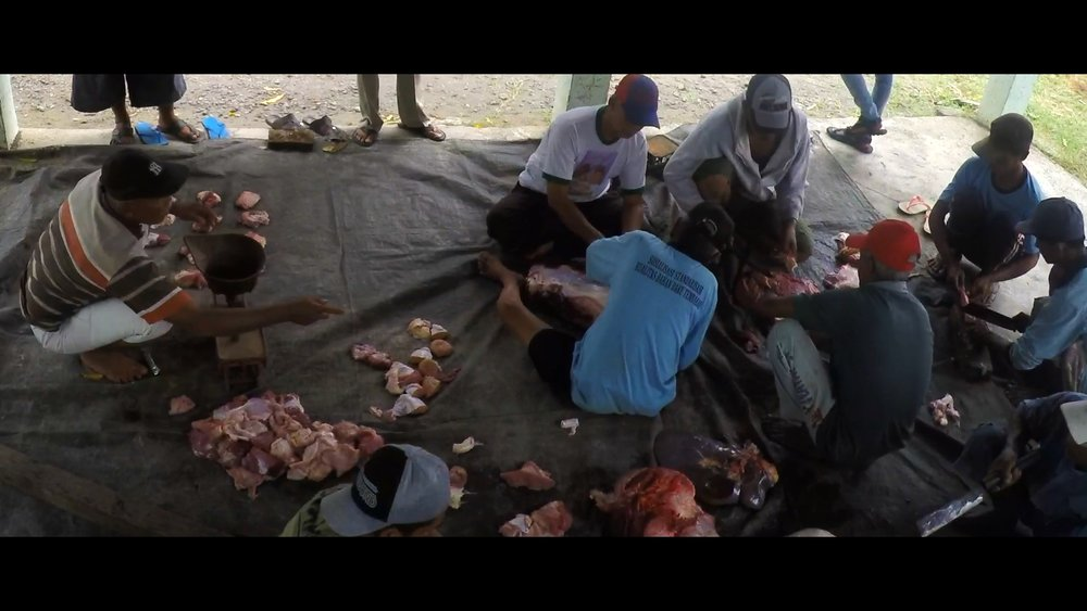 Still image of the meat preparation after the sacrifices.