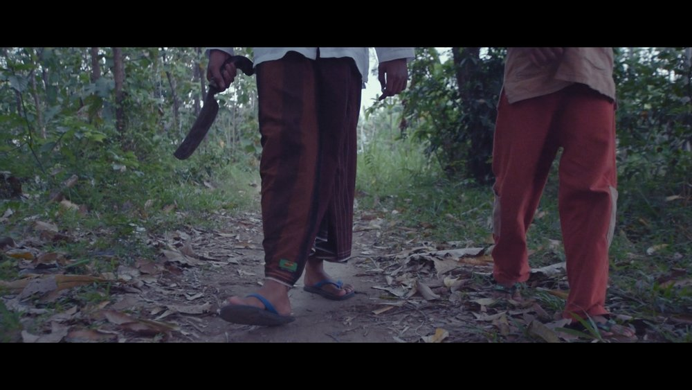 Still image from the scene with Abraham and Ishmael. Abraham has decided to sacrifice Ishmael for God.