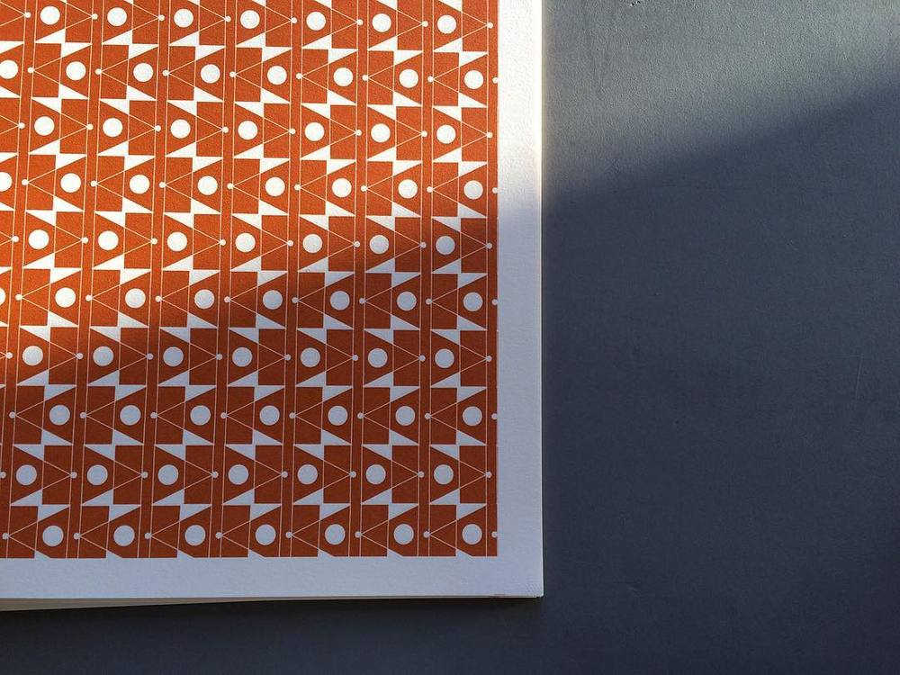 #esmewinter 'Frequency' #patternedpaper in Orange. One of our original designs, with us since day one and celebrating its 5th anniversary later this year. 🎉#decorativepaper #bookarts #giftwrapping #madeinengland
