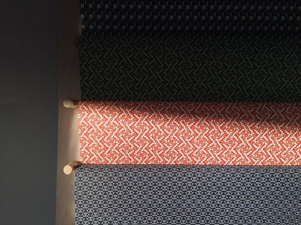 #studio sunlight highlighting our Waltz & Peggy #patternpaper #decorativepaper #giftwrap #esmewinter