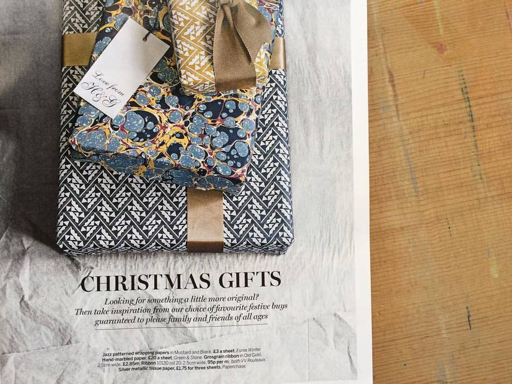 Our 'Jazz' Patterned Papers are also featured in the opening spread of @homesandgardensuk December Gift Guide. #esmewinter #decorativepaper #christmas2015