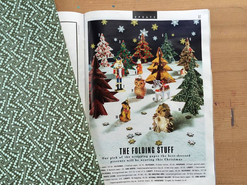 Delighted to see 'Waltz' Patterned and 'Fantasy' Marbled Papers both featured in today's Sunday Times @theststyle Gift Guide #esmewinter #decorativepaper #wrappingpaper #christmas2015 #papercraft