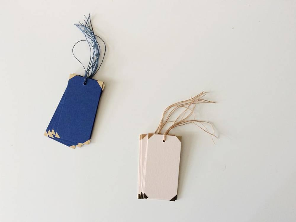 New Gift Tags available online from October - Inspired by the traditional half-bound book featuring gold foiled corner detail and linen thread.