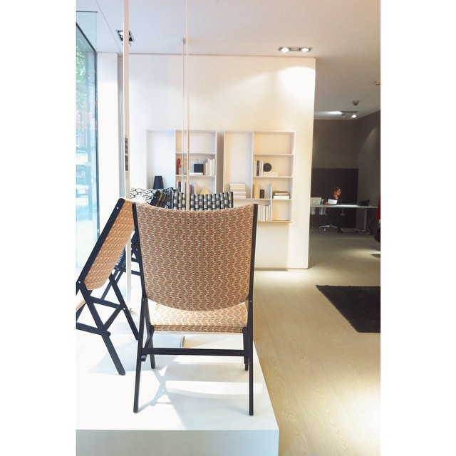Gio Ponti's D270.2 chair upholstered in Esme Winter fabric at the Molteni flagship, Shaftesbury Avenue. Exhibition in partnership with Molteni&C and curated by @port_magazine. #ldf14 #esmewinter #madeinengland