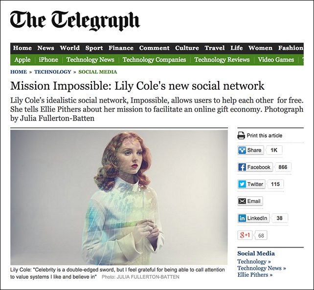 Mission Impossible  Lily Cole's new social network - Telegraph copy