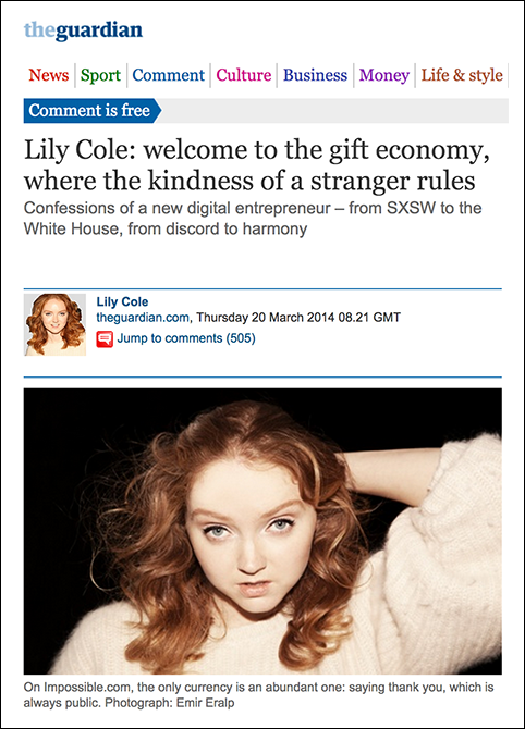 Lily-Cole--welcome-to-the-gift-economy,-where-the-kindness-of-a-stranger-rules---Lily-Cole---Comment-is-free---theguardian.com