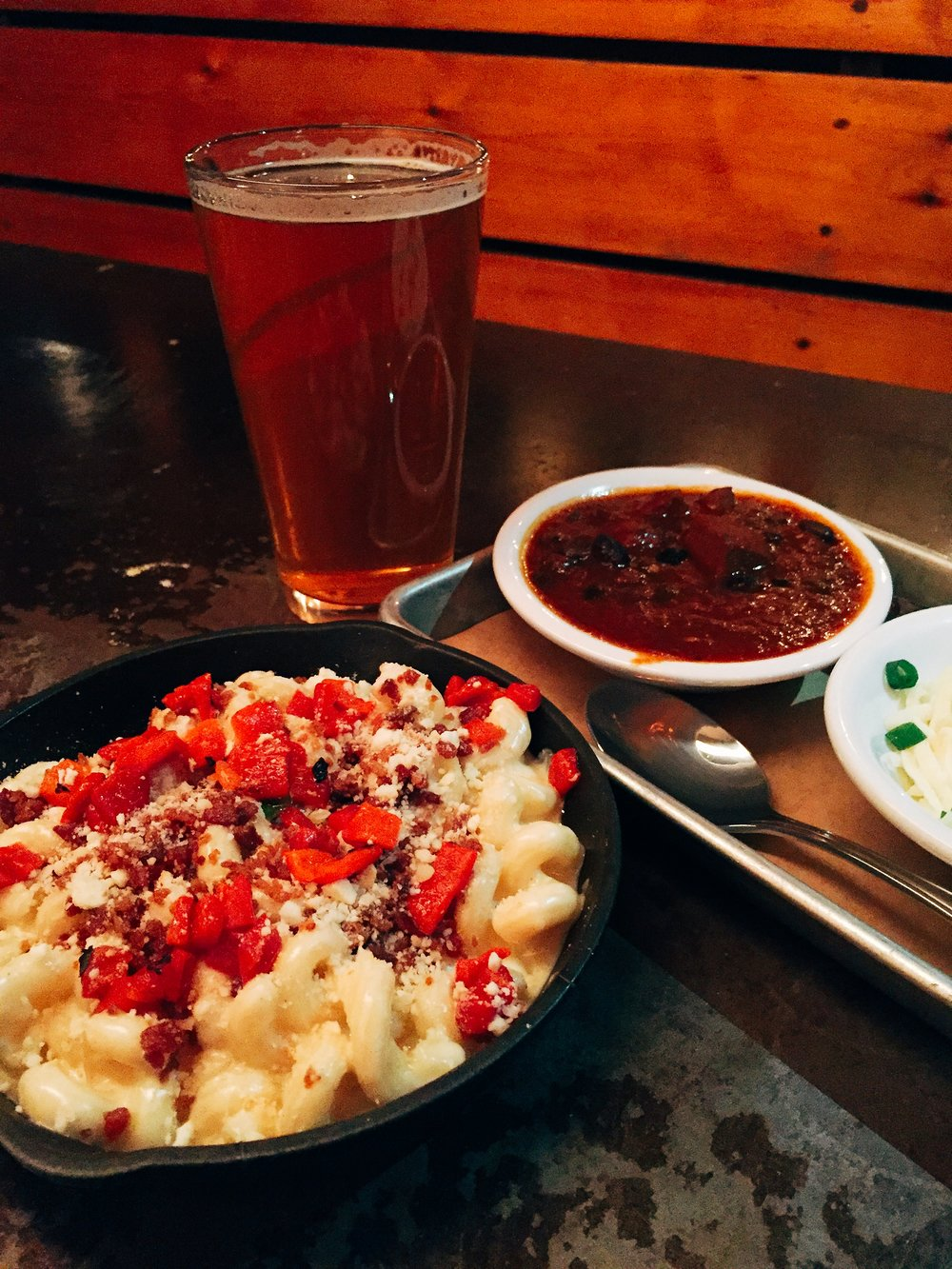 Bacon and smoked feta mac and cheese skillet and their award winning chili