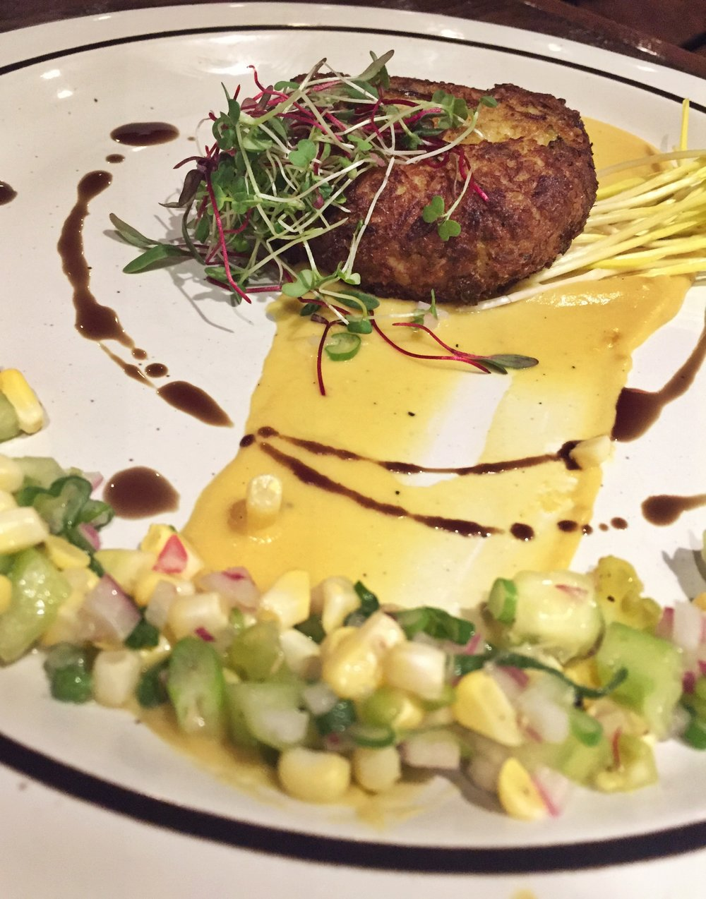 The crab cake and corn relish was perfectly cooked!