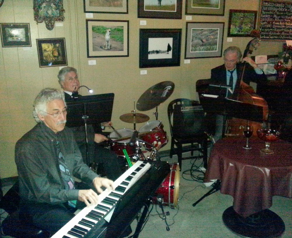 Art Levit, keyboard, and Tom Gourley, bass, playing jazz in Albany