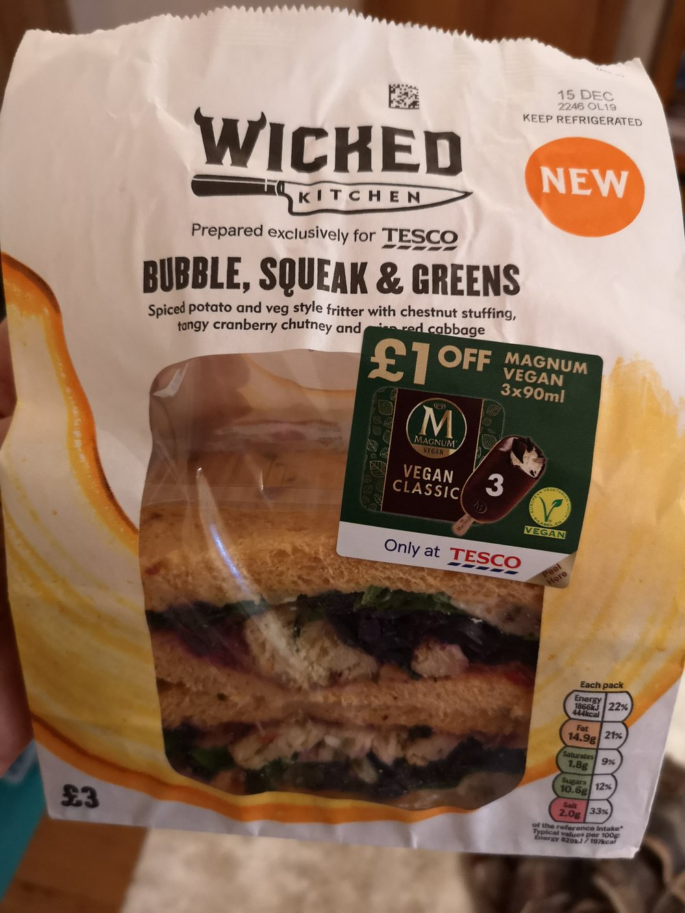 Wicked Kitchen Christmas Bubble & Squeak Sandwich -