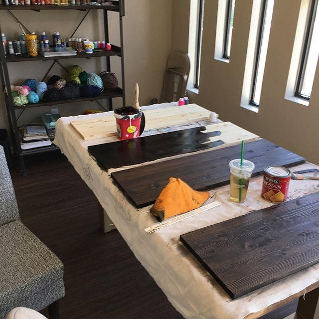Making custom built-in shelving for Max's room. #handy #diy @minwaxusa #staining