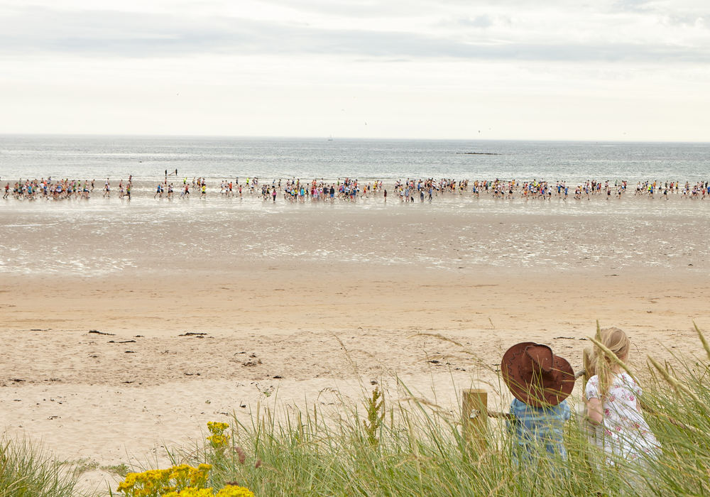 Witness one of many beach runs