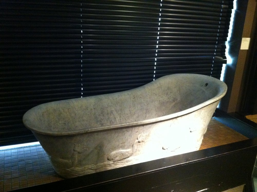 The majority of modern bathtubs have the same form and functionality as this 2000-year old exhibit. This shape represents the dominant design for bathtubs.