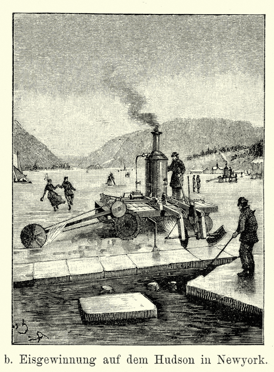19th century Ice cutters on the Hudson river.