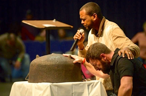 Will Ford and Matt Lockett with the family prayer kettle (Photo: Courtesy of Will Ford)