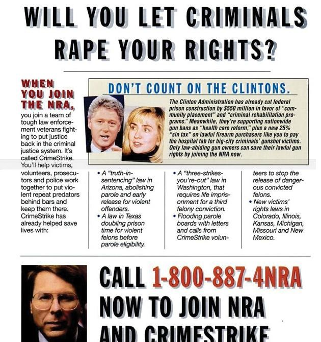 "This was the ad the NRA ran in the 90s promoting Crime Strike.  Notice the Dog Whistle Politics and rhetoric.  This whole documented is laced with racial undertones. ""Big City Criminals""=Black folks. ""Help Victims""=help white America.  There's so much propaganda here."
