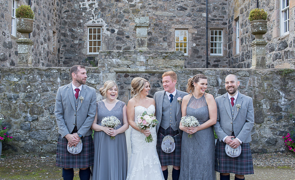 the barn at barra castle wedding party, wedding party, bridal party, grey bridesmaids dresses, floral request Inverurie, Melissa MUA, Angharad Bridal Elgin, wedding photographer in aberdeen