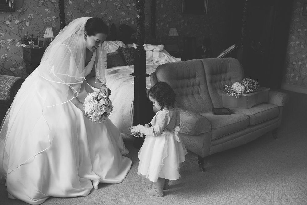 bride and flower girl, blush bridal Fraserburgh, wedding dress Aberdeen, wedding photography Aberdeen, wedding photographer Aberdeen, wedding photographers in Aberdeen
