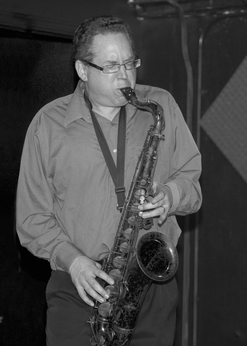 Saxophonist/composer Mike Titlebaum B&W