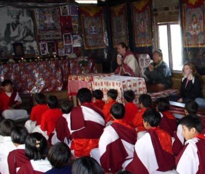t.k. leading prayers in the ngakpa/yogi school, Pemakö.