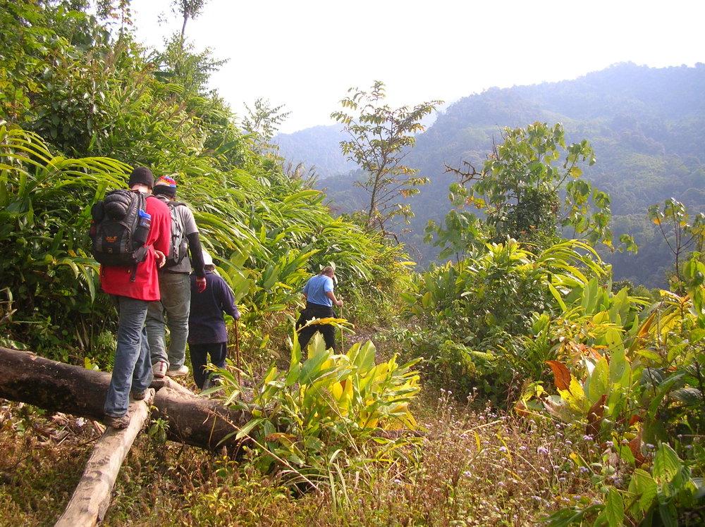 t.k., in blue, leading the trek into Pemakö.