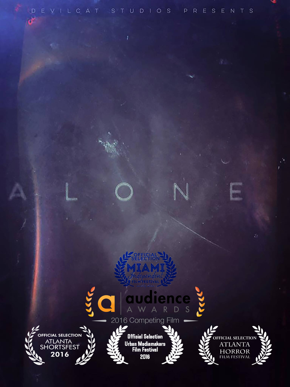 ALONE (2016) - A studio manager finds herself working a double shift alone...or so she thinks.Starring: Kathryn Telford, Scott Moore  Written By: Steven Ceballos  Directed By: Sylvester Alfonso