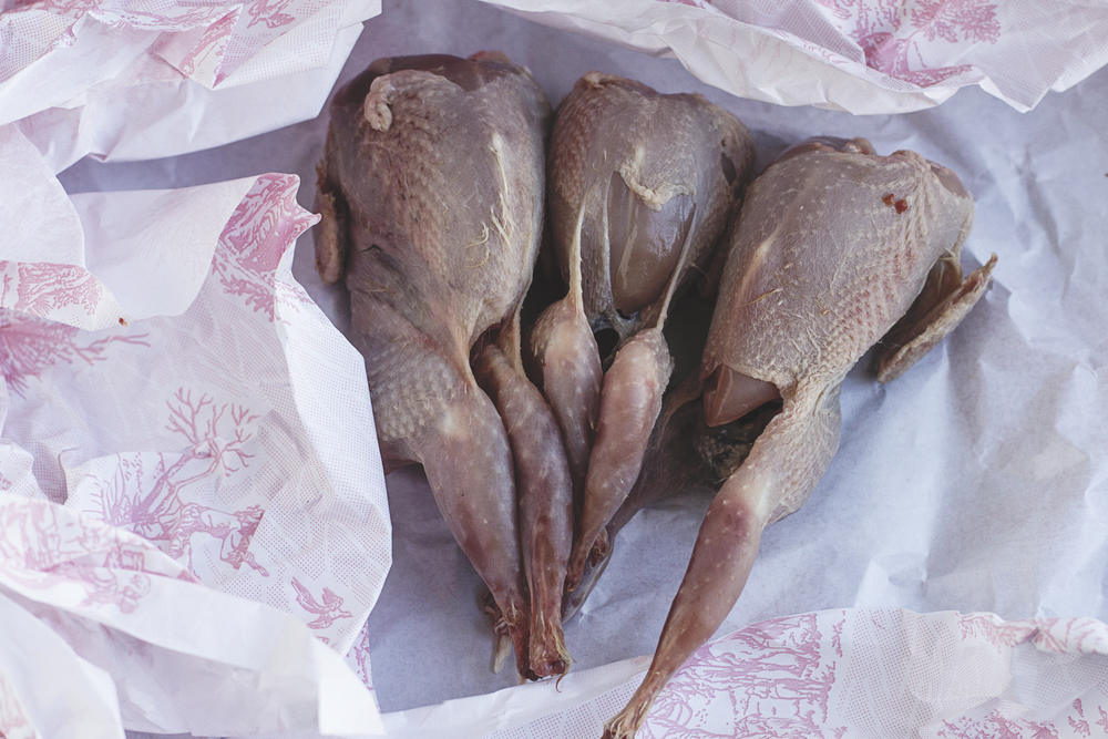 Quails from the market. A Californian in Paris.