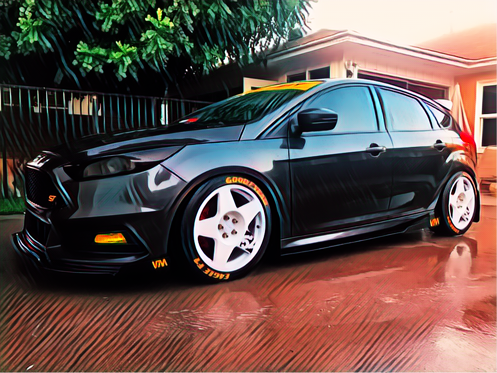2016 Ford Focus ST - OWNER: JorgeLocation: CaliforniaINSTAGRAM: datgrey1Vega products installed:1. VM Front aluminum Splitter with VM bolt-on Side fins and VM cutout.2. VM aluminum side skirts with 24