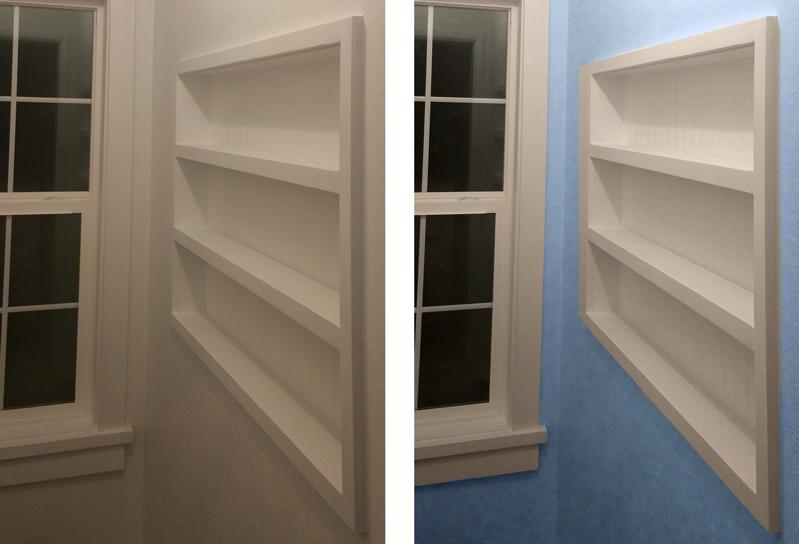 diy built in the wall shelving reclaim hidden storage space in rh azdiyguy com diy in wall shelves diy hexagon wall shelves