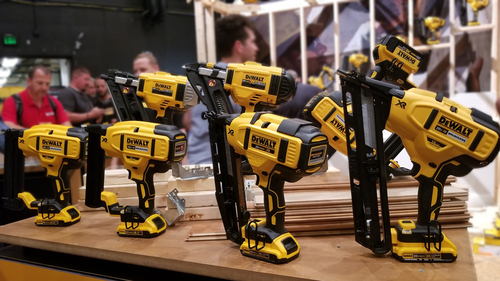 16 GA Angled Finish Nailer (DCN660), Metal Connector Nailer (DCN693), 30 Degree Framing Nailer (DCN692),  18 GA Brad Nailer (DCN680), 18 GA Narrow Crown Stapler (DCN681), 15 GA Angled Finish Nailer (DCN650), and the 18 GA Flooring Stapler (DCN682).