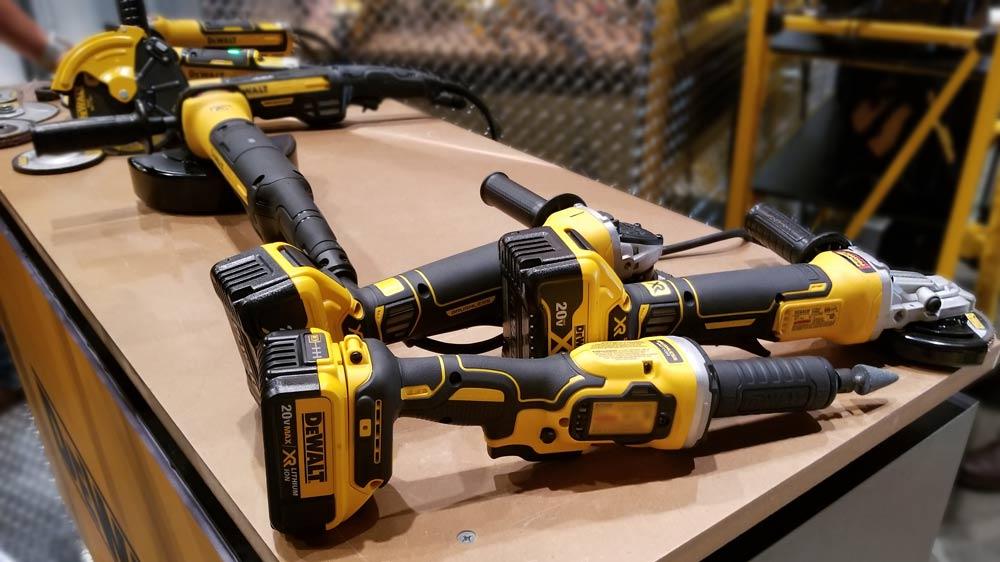 "20V MAX* XR® 4.5"" Angle Grinder (DCG413R2), 20V MAX* XR® 5"" Flathead Grinder (DCG413FR2), 20V MAX* XR® 1-1/2"" Die Grinder (DCG426M2)."
