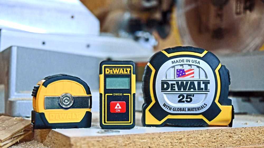 DeWalt: 9' Tape Measure, Laser Distance Measurer, and 25 foot XP Tape Measure