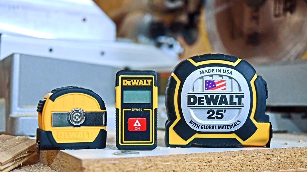 DeWalt: 9' Tape Measure, Laser Distance Measurer, and 25 foot XP Tape Measure