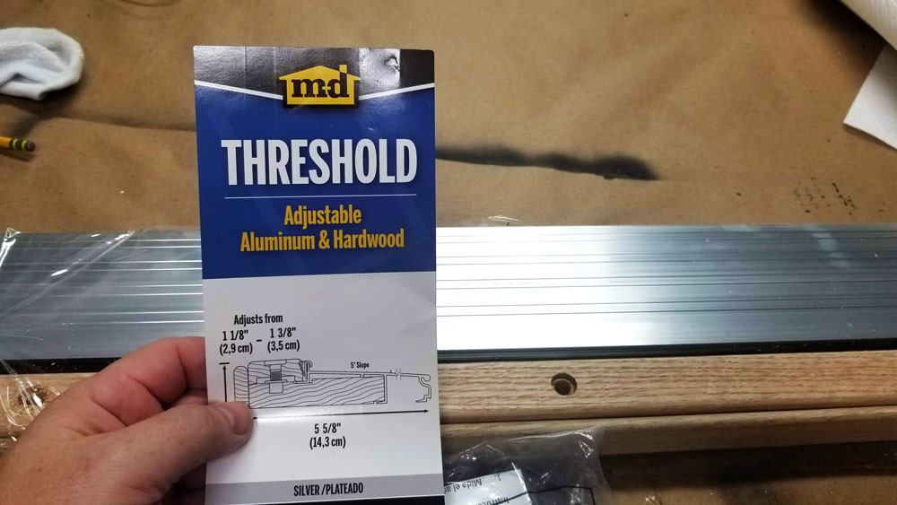 Threshold:  M-D Building Products Adjustable Aluminum and Hardwood Sill