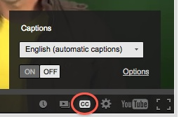YouTube Closed Captions Button with Automatic Captions