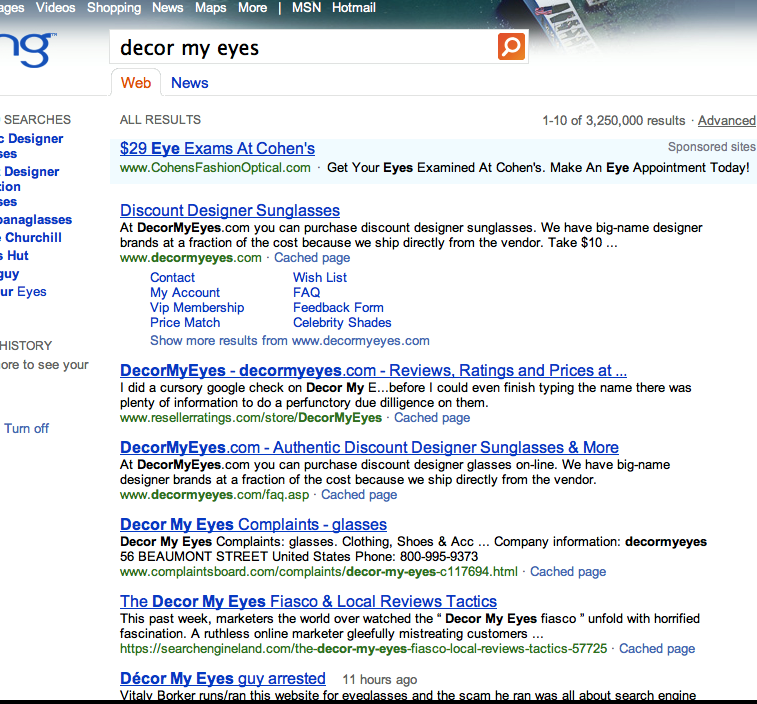 Bing Reveals the Reputation of DecorMyEyes