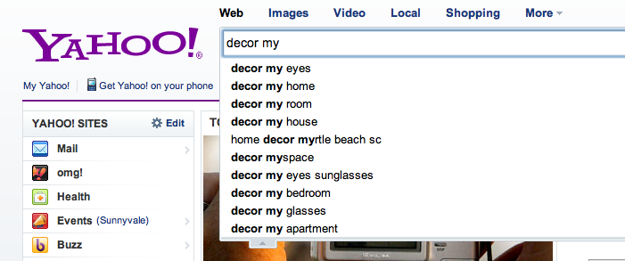 "Yahoo Search - ""decor my"" WITHOUT Warning of Scam"