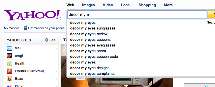 """Yahoo Search for """"decor my e"""" Suggests Scams & Complaints"""