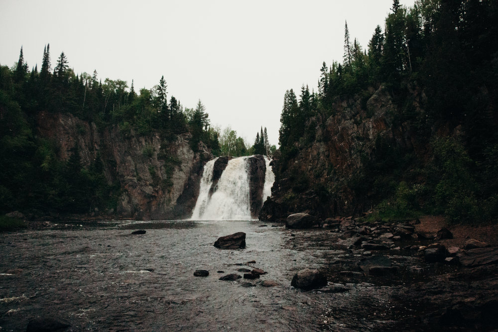The waterfall we trudged through the rain to see! (In Tettegouche State Park)