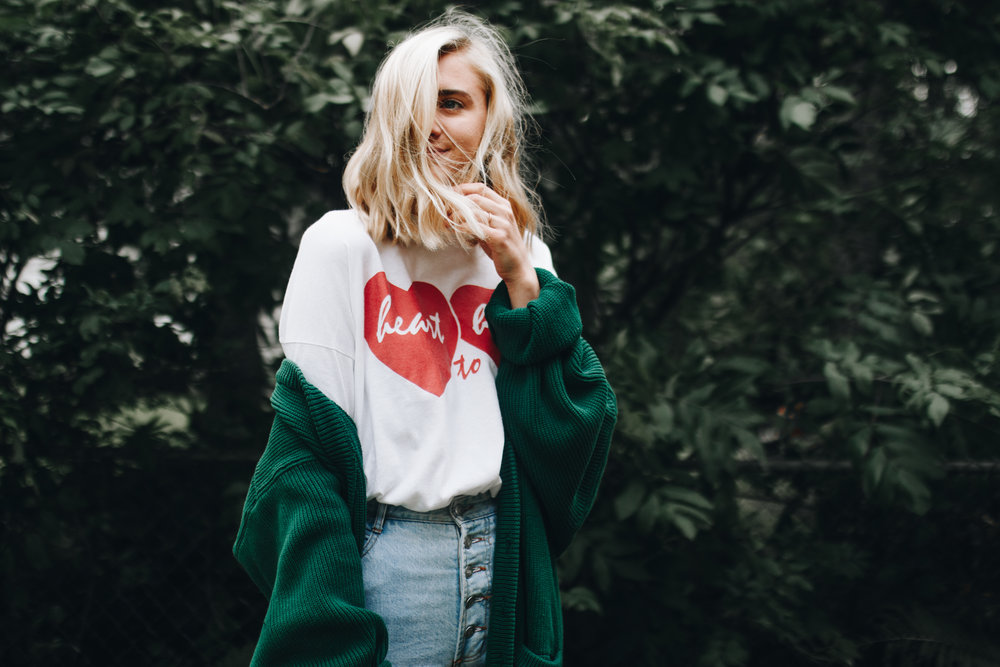 heart to heart tee +green cardigan -