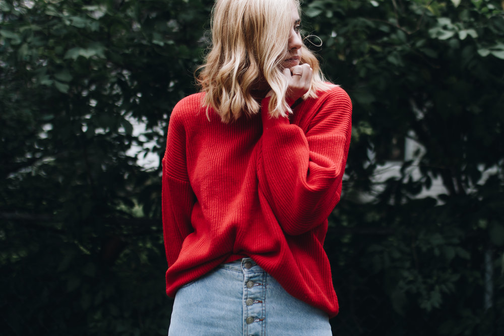 red sweater + bongo jeans -