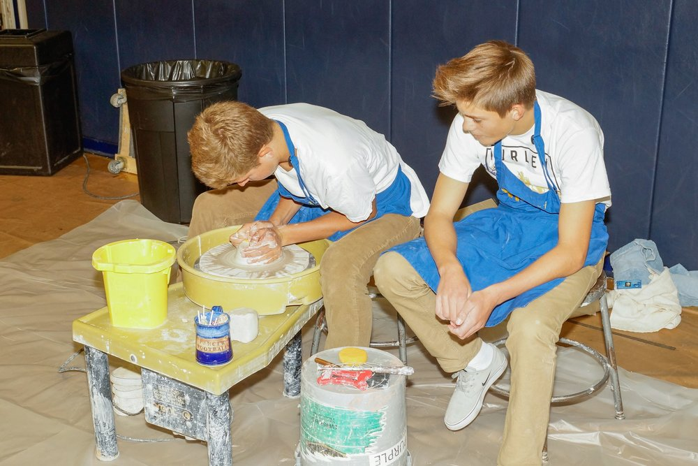 Nordhoff students demonstrate Pottery equipment that is one of many Art grants funded by the Ojai Education Foundation!