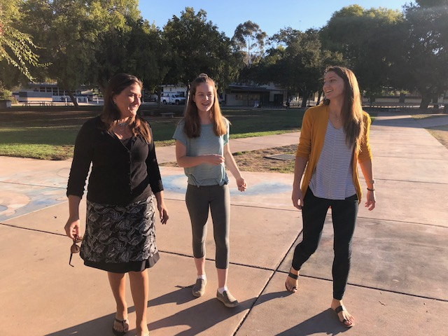 OEF 2018 Education Heroes from L to R: Asli Ruf, Abilene Runyan and Natalie Hay on the campus of Nordhoff High School.
